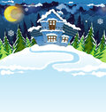 Blue house in a pine forest fairy with tiles winter night landscape Stock Images