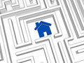 Blue house symbol in labyrinth Stock Image