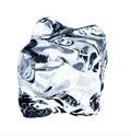 Blue ice cube, isolated on white Royalty Free Stock Photo