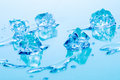 Blue ice cubes Stock Photos
