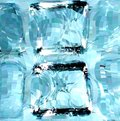 Blue ice cubes. Vector illustration Stock Photos