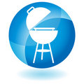 Blue Icon - BBQ grill Royalty Free Stock Photo