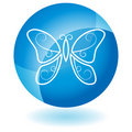 Blue Icon - Butterfly Royalty Free Stock Photo