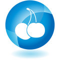 Blue Icon - Cherries Royalty Free Stock Photo