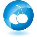 Blue Icon - Cherries Royalty Free Stock Photo