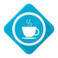 Blue icon coffee with long shadow