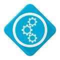 Blue icon gears with long shadow Royalty Free Stock Photo