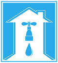 Blue icon with house,tap and arrow Stock Image
