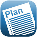 Blue icon illustration document plan white of a with heading and checklist Stock Photography