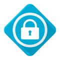 Blue icon lock with long shadow Royalty Free Stock Photo