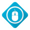 Blue icon Mouse with long shadow Royalty Free Stock Photo