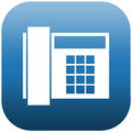 Blue icon of phone and white illustration a Royalty Free Stock Photos