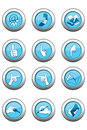 Blue Icon Set Stock Photos