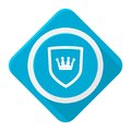 Blue icon shield crown with long shadow Royalty Free Stock Photo