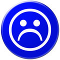 Blue icon with symbol of sad face Royalty Free Stock Image