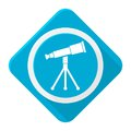 Blue icon telescope with long shadow Royalty Free Stock Photo