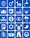 Blue icons a set of of items and things white on background Royalty Free Stock Photography