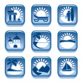 Blue icons set places interest over white background Royalty Free Stock Images