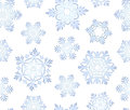 Blue icy snowflakes set seamless background decorative Stock Images