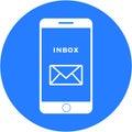 Blue inbox design in a flat round button