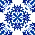 Blue indigo watercolor hand painted damask pattern seamless. Azulejo tile Royalty Free Stock Photo