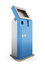 Blue information kiosk. Information terminal. 3d illustration. Royalty Free Stock Photo