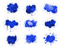 Blue ink blobs Royalty Free Stock Photography