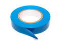 Blue insulating tape roll of a isolated on white background with clipping path Royalty Free Stock Image