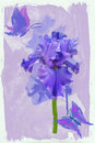 Blue iris blue butterfly background watercolors Stock Photography