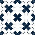 Blue islamic pattern. Oriental tartan texture. Geometric floral seamless pattern. Abstract background. Winter ornament