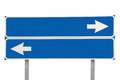Blue Isolated Crossroads Road Sign Two Arrow Signage Macro, Large Detailed Closeup, Blank Empty Copy Space Royalty Free Stock Photo