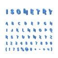 Blue isometric font isolated on white Royalty Free Stock Photo
