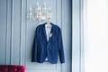 Blue jacket groom Royalty Free Stock Photo
