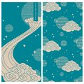 Japanese set with a vector card and seamless vector pattern. design with clouds and stars Royalty Free Stock Photo