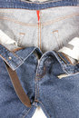 Blue Jeans with brown leather belt Royalty Free Stock Photo