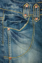 Blue jeans fabric with pocket Stock Photo