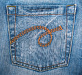 Blue jeans fabric with pocket as background can use Stock Images