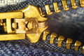 Blue jeans, gold zipper fly, macro image. Royalty Free Stock Photo