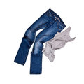 Blue jeans and grey shirt isolated on the white background Royalty Free Stock Photography