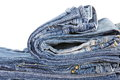 Blue jeans lot of different close up Royalty Free Stock Image