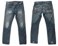 Blue jeans a pair of mans isolated Royalty Free Stock Images