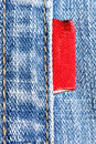 Blue jeans with red label Royalty Free Stock Images