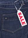 Blue jeans sale Royalty Free Stock Photos