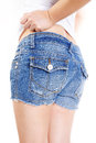 Blue jeans short women in Royalty Free Stock Photos