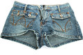 Blue jeans shorts on white background Royalty Free Stock Photo