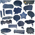 Blue jeans texture speech bubbles Stock Photography