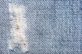 Blue jeans torn fabric texture of Royalty Free Stock Photography
