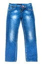 Blue jeans trouser isolated on the white background Stock Photography
