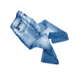Blue jeans trouser isolated on the white background Royalty Free Stock Image