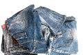 Blue jeans trouser isolated on the white background Stock Photo
